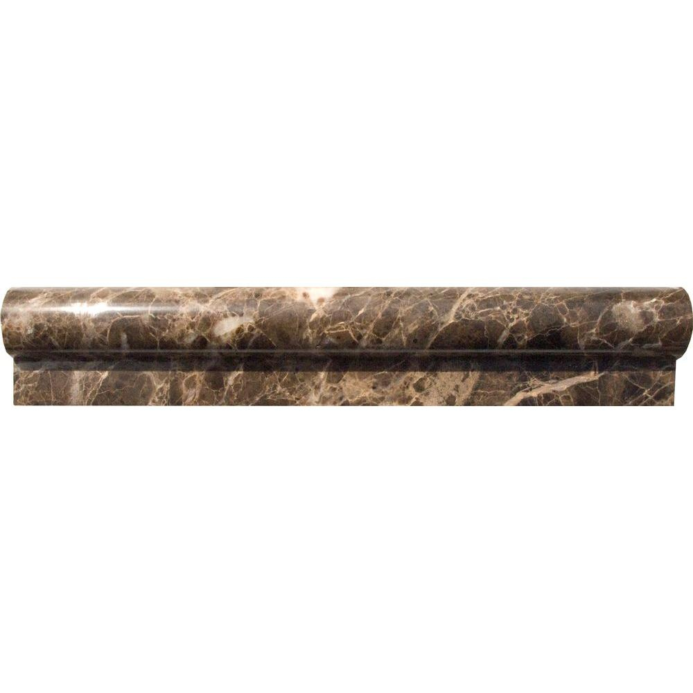 MS International Emperador 2 in  x 12 in  Polished Marble Rail Molding Wall  Tile. MS International Emperador 2 in  x 12 in  Polished Marble Rail