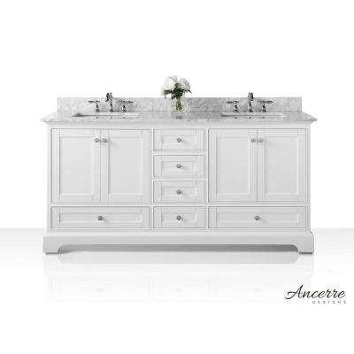 Audrey 72 in. W x 22 in. D Vanity in White with Marble Vanity Top in Carrera White with White Basin