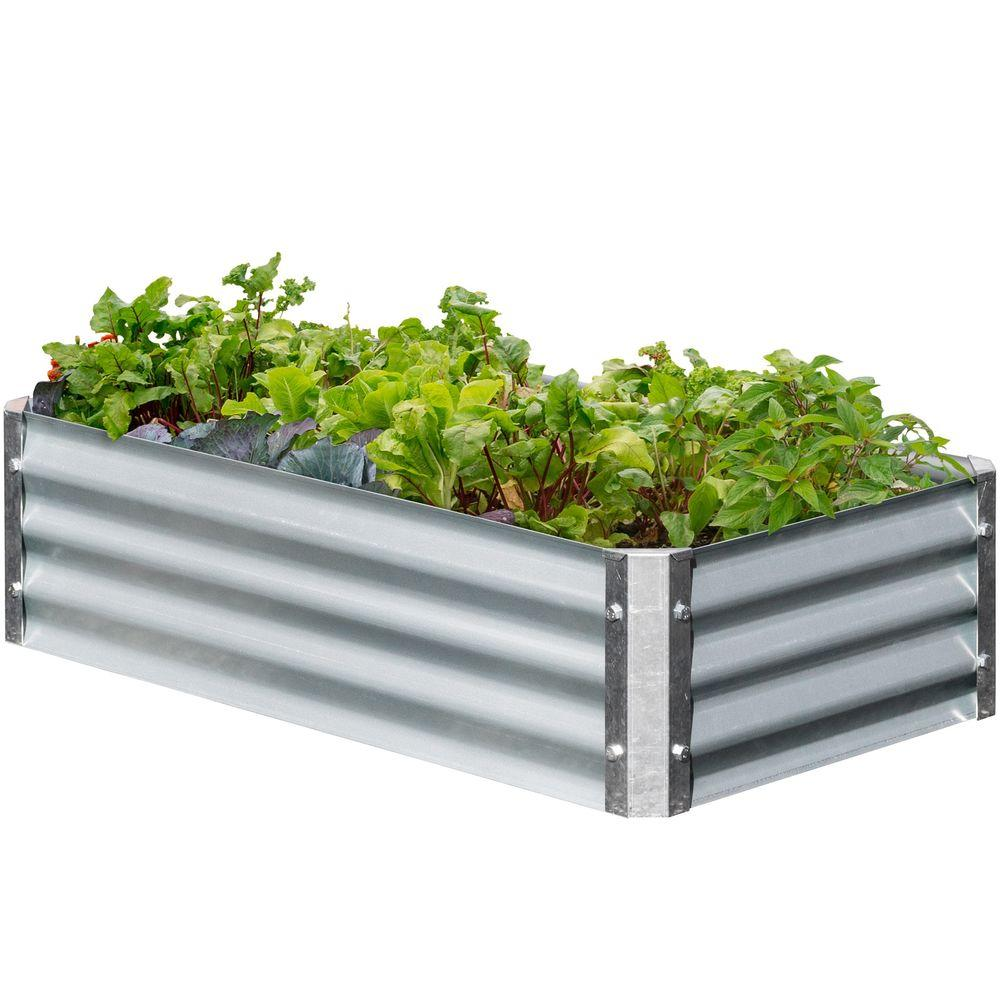 Earthmark Bajo Series 22 In X 40 In X 10 In Rectangle Galvanized Metal Raised Garden Bed Mgb