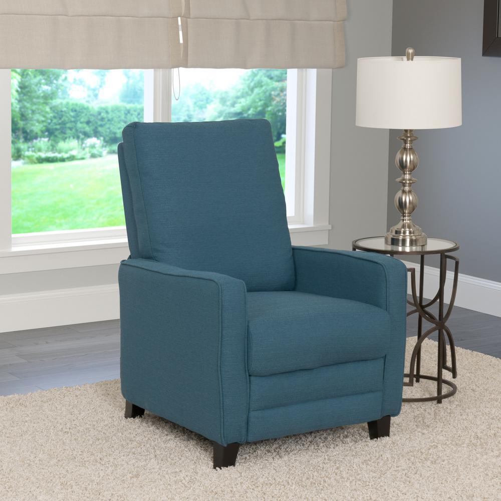 CorLiving Kelsey Blue Linen Fabric Recliner