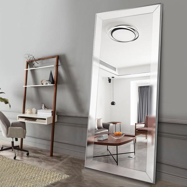 Neu Type Large Silver Floor Full Length Mirror With Bevel Edge In Living Room Jj00744zzz The Home Depot