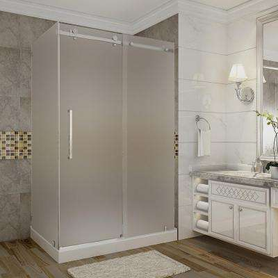 Moselle 48 in. x 35 in. x 77.5 in. Frameless Sliding Shower Enclosure and Frosted in Stainless Steel with Left Base