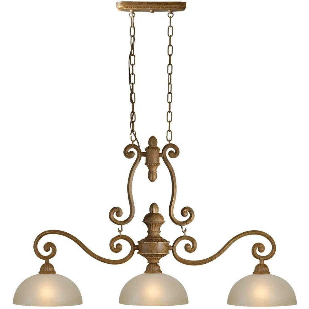 Talista 3-Light Chestnut Island Pendant with Shaded Umber Glass