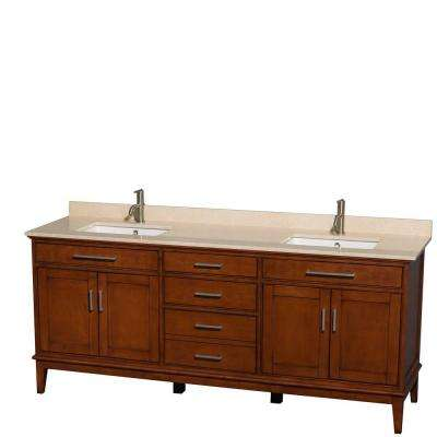 Hatton 80 in. Double Vanity in Light Chestnut with Marble Vanity Top in Ivory and Square Sinks