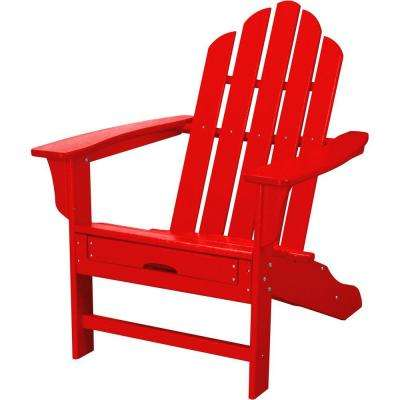 All-Weather Patio Adirondack Chair with Hide-Away Ottoman in Sunset Red