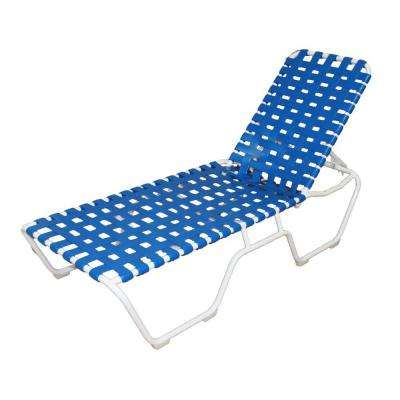 Marco Island White Commercial Grade Aluminum Patio Chaise Lounge with Blue Vinyl Cross Straps (2-Pack)