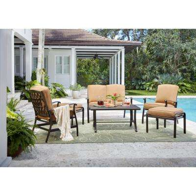 Ridge Falls 6-Piece Aluminum Outdoor Deep Seating Set with Sunbrella Cork Cushion