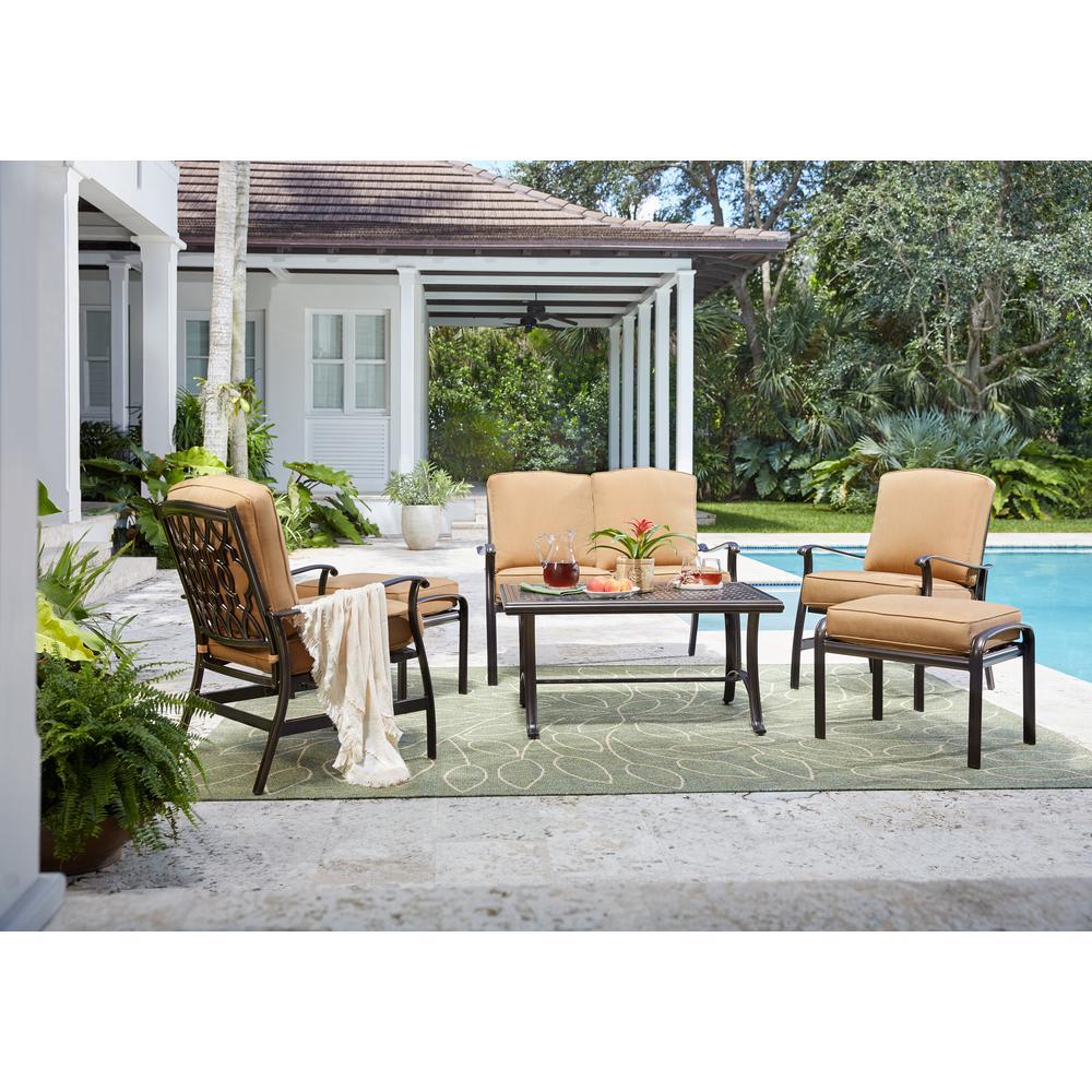 Ridge Falls 6-Piece Aluminum Outdoor Deep Seating Set with Sunbrella Cork Cushion