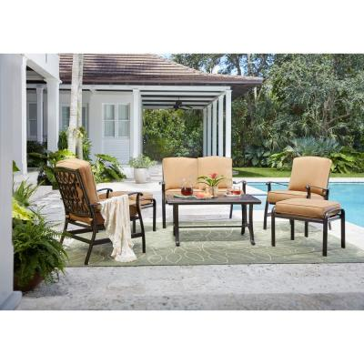 Ridge Falls Dark Brown Aluminum Outdoor Patio Deep Seating Set with Sunbrella Canvas Cork Tan Cushions
