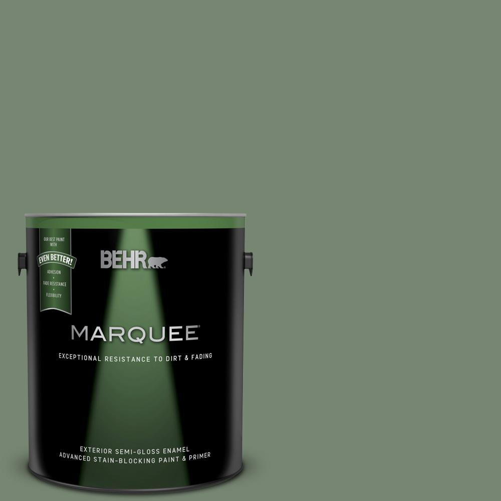 Behr Marquee 1 Gal 440f 5 Winter Hedge Semi Gloss Enamel Exterior Paint And Primer In One 545301 The Home Depot