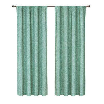 Semi-Opaque Leila Printed Cotton Extra Wide 84 in. L Rod Pocket Curtain Panel Pair, Dusty Teal (Set of 2)