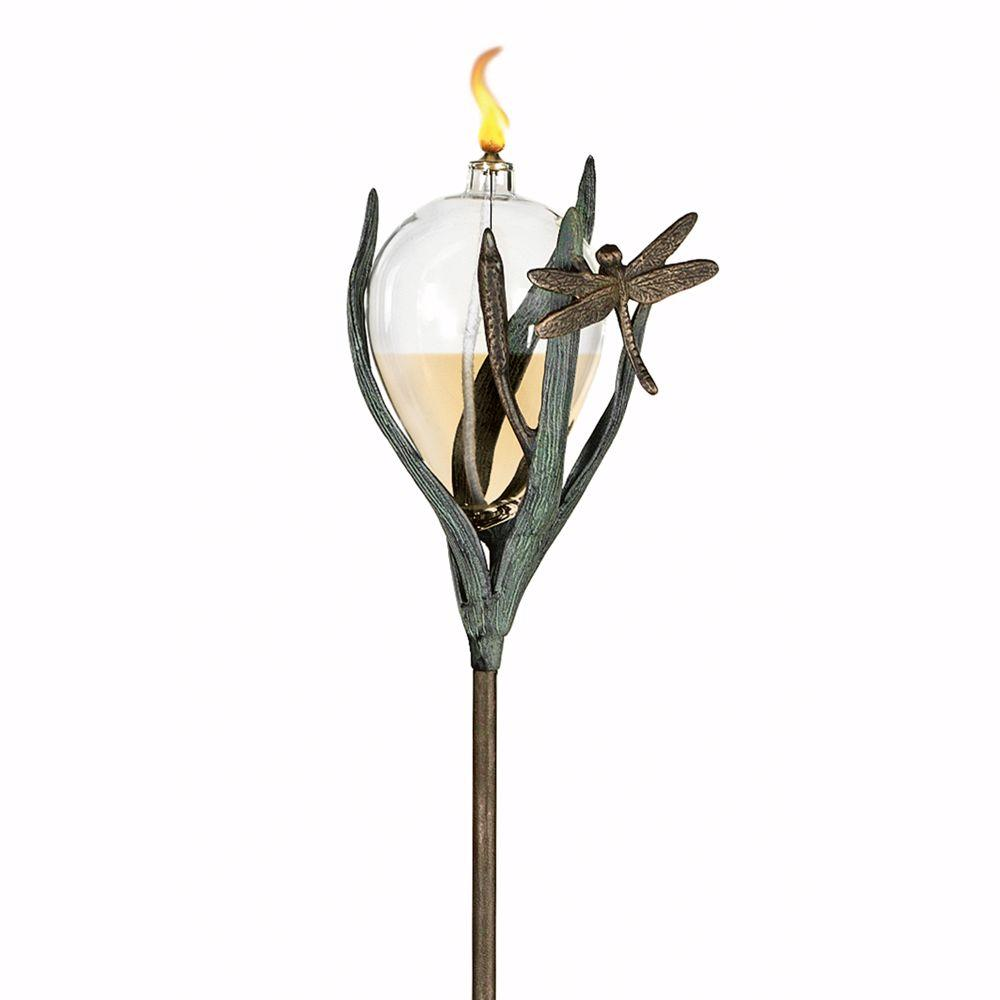 Home Decorators Collection Garden Accents Dragonfly Brass Verdigris Oil Lamp and Stake