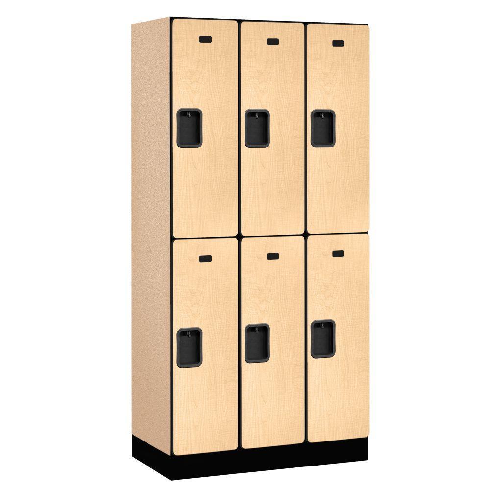 32000 Series 36 in. W x 76 in. H x 18 in. D 2-Tier Designer Wood Locker in Maple