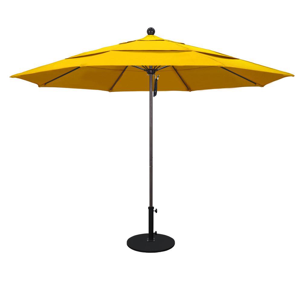 11 ft. White Aluminum Pole Market Fiberglass Ribs Pulley Lift Outdoor Patio Umbrella in Sunflower Yellow Sunbrella