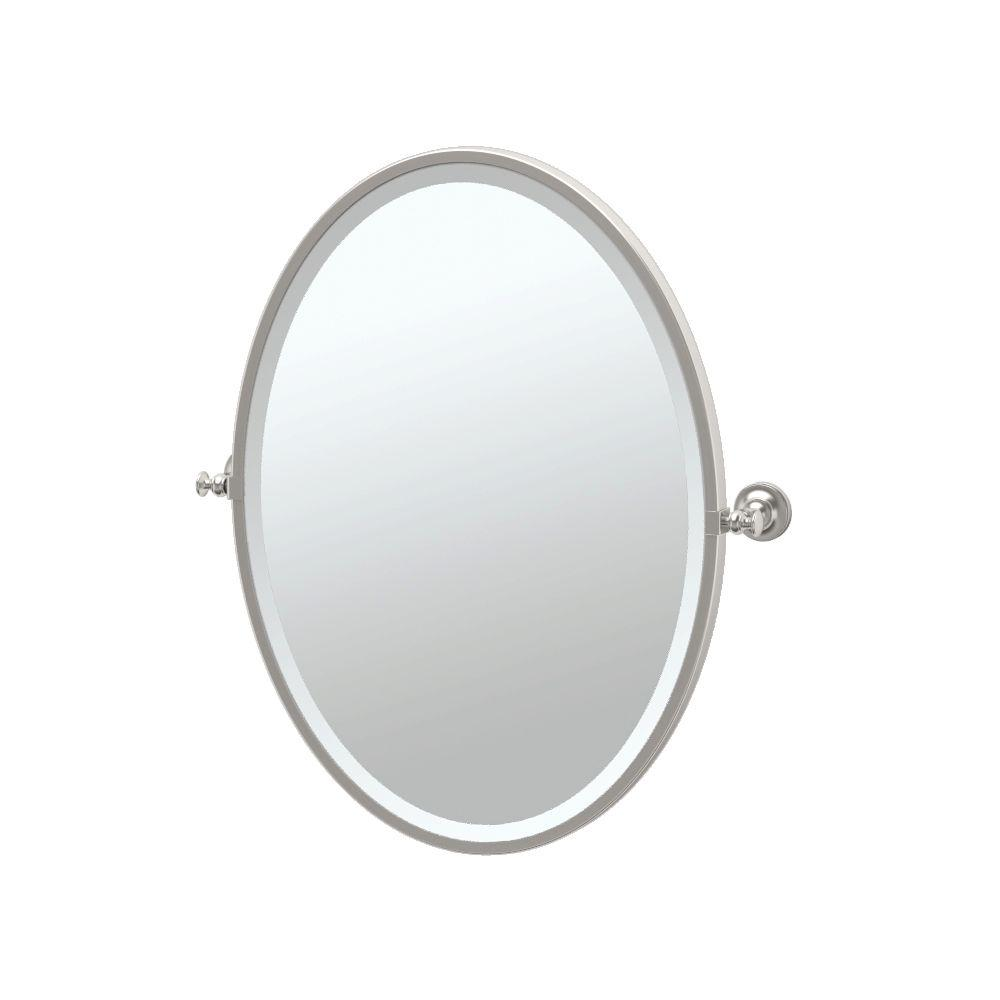 Gatco Tavern 25 In X 28 Framed Single Oval Mirror Satin Nickel