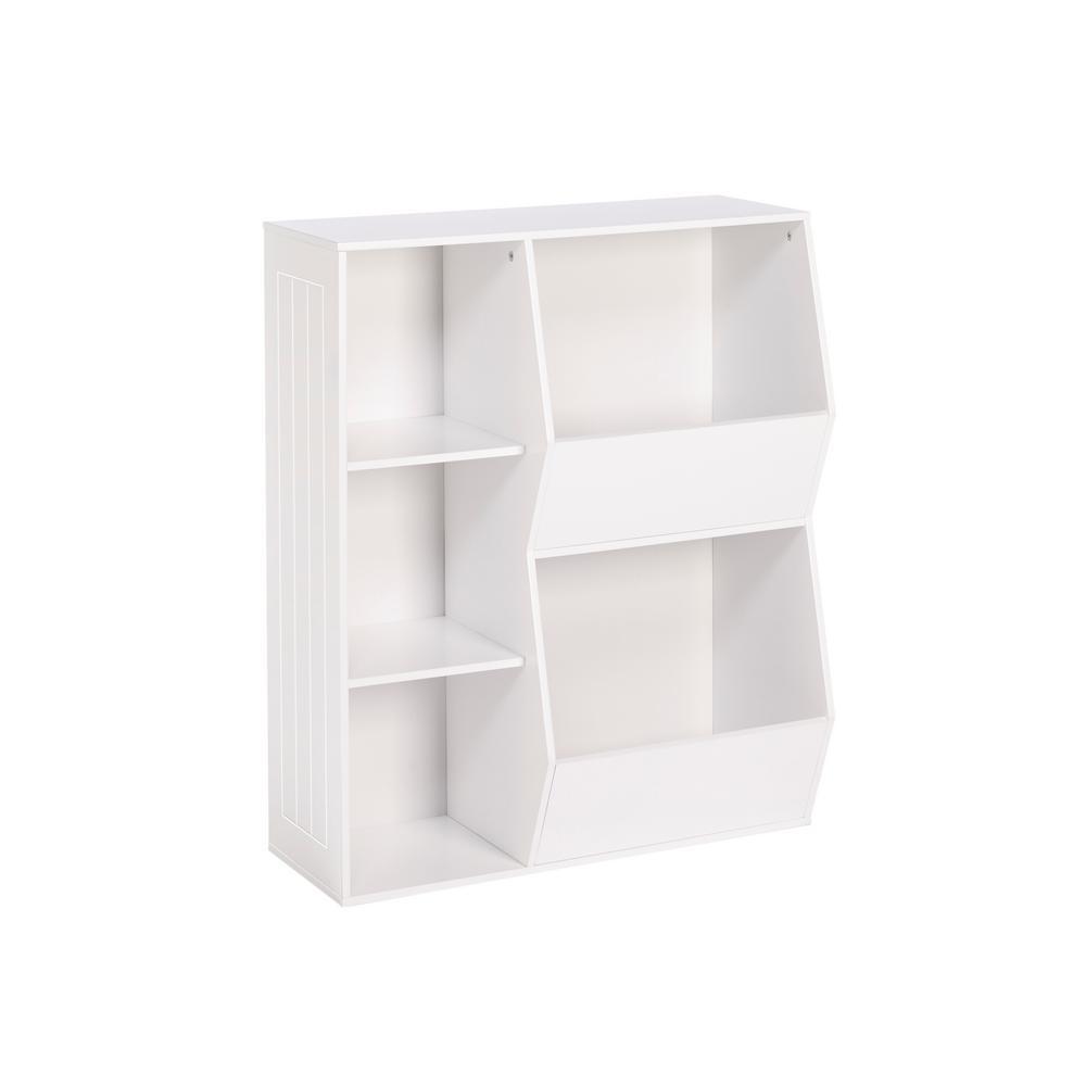 3-Cubby, 2-Veggie Bin Floor Cabinet in White