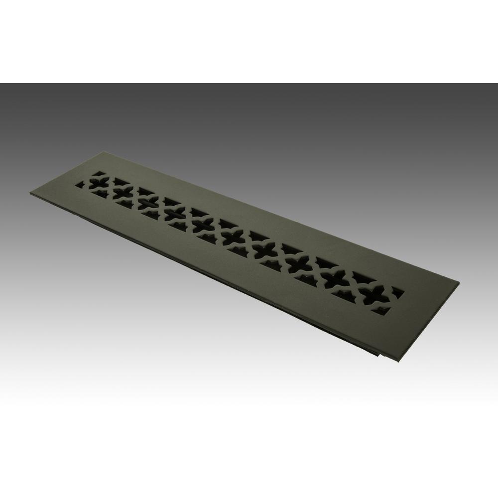14 in. x 2.25 in. Black Poweder Coat Steel Floor Vent with Opposed Blade Damper