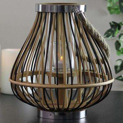 11 in. Rustic Chic Rattan Lantern Candle Holder