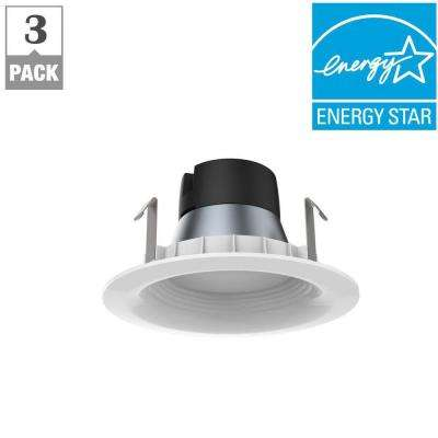 4in. White Integrated LED Recessed Trim (3-Pack)