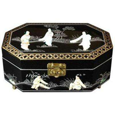 Oriental Furniture Violetta Lacquer Jewelry Box in Black