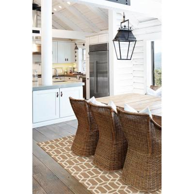 Washable Modern Fretwork Tan 5 ft. x 7 ft. Stain Resistant Area Rug