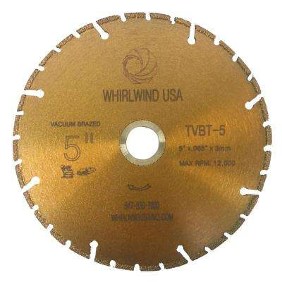 5 in. 32-Teeth Segmented Diamond Blade for Dry or Wet Cutting Metal and Plastic Materials