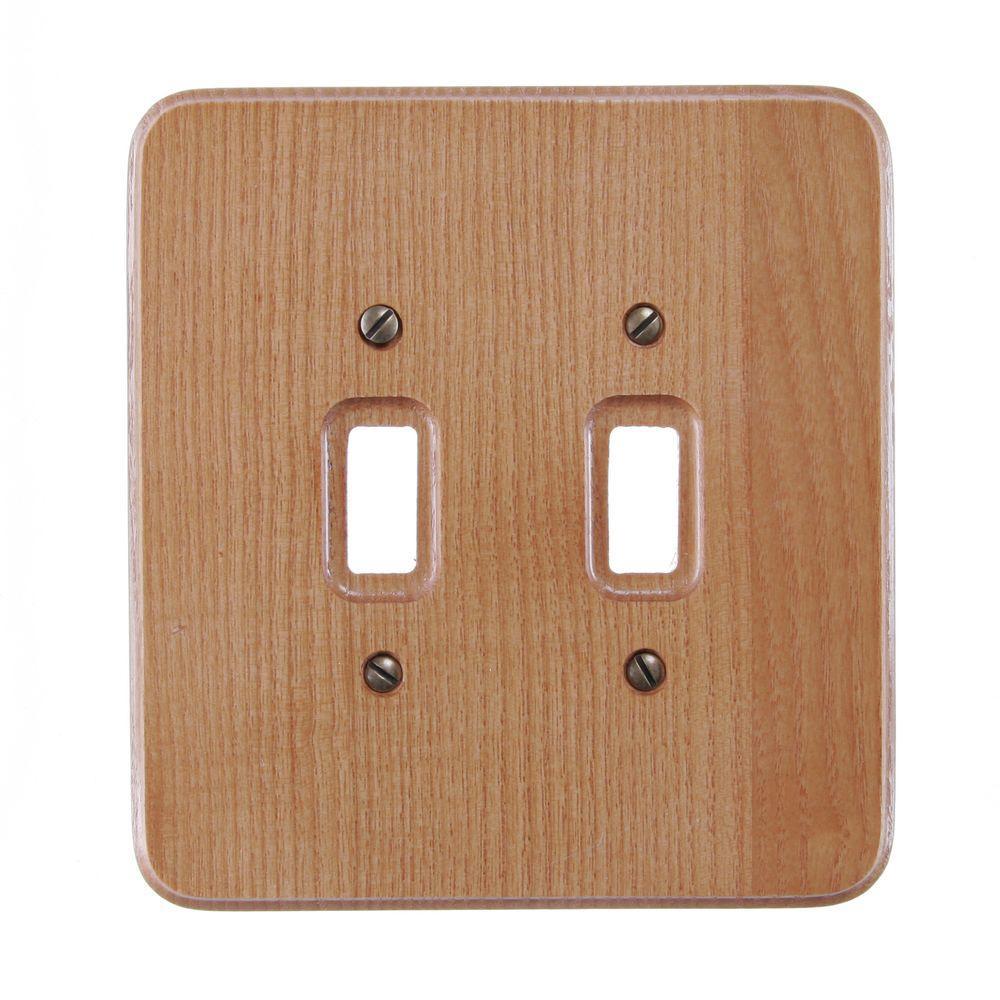 2 Toggle Wall Plate - Natural Oak