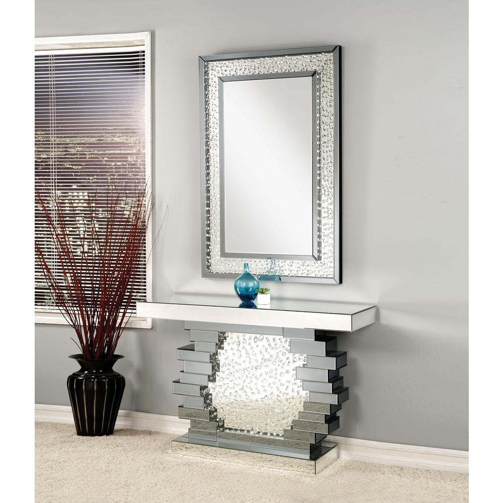 Acme Furniture Nysa Mirrored And Faux Crystals Accent Mirror 97387 The Home Depot