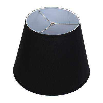 11 in. Top Diameter x 17 in. Bottom Diameter x 13 in. Slant Linen Black Empire Lamp Shade