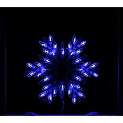 1.5 in. Christmas Window Silhouette Decoration LED Lighted Snowflake in Blue