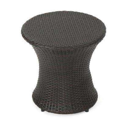Awe Inspiring Phoebe Multi Brown Round Wicker Outdoor Accent Table Ibusinesslaw Wood Chair Design Ideas Ibusinesslaworg