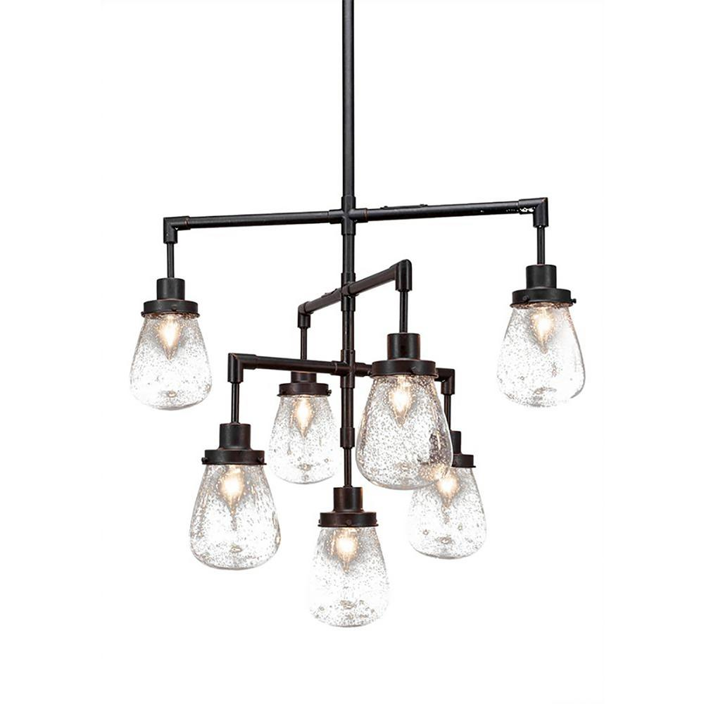 7 Light Brushed Nickel Chandelier With Clear Bubble Gl Shade