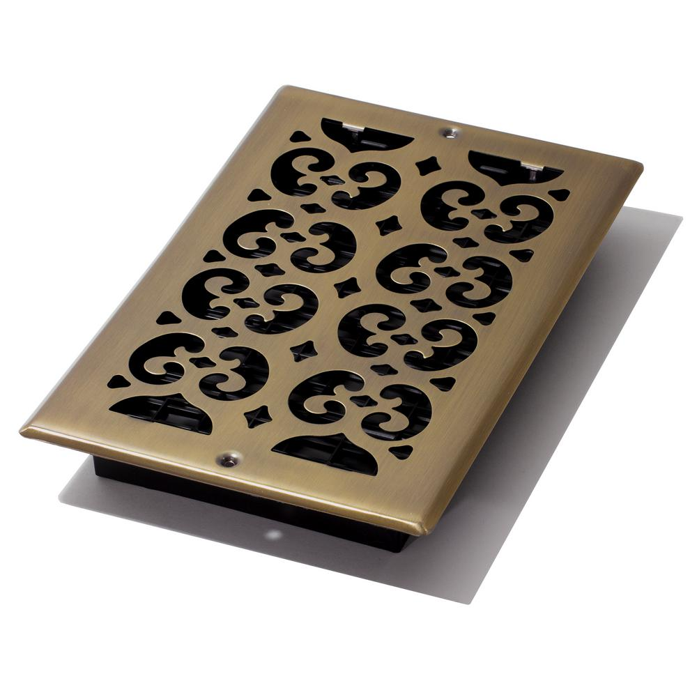 Decor Grates 6 in. x 10 in. Antique Steel Plated Scroll Wall Register