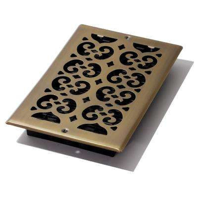6 in. x 10 in. Antique Steel Plated Scroll Wall Register