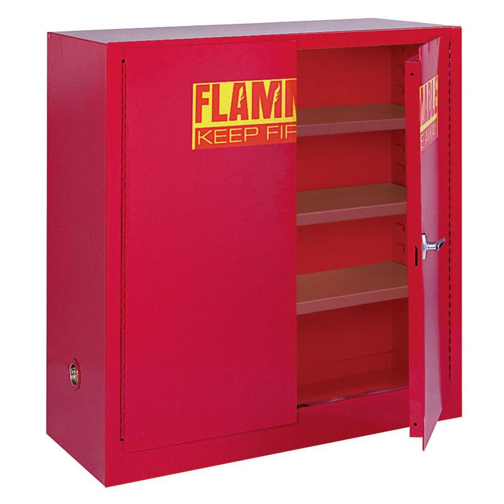 Sandusky 44 in. H x 43 in.W x 18 in. D Steel Counter Height Freestanding Paint and Ink Storage Safety Cabinet in Red