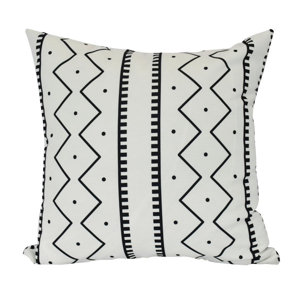 Mudcloth Cream Geometric 16 in. x 16 in. Throw Pillow