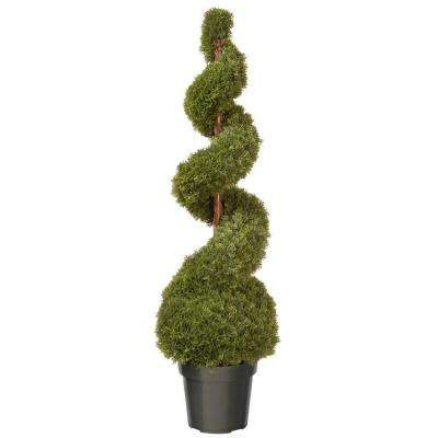 48 in. Cedar Spiral Tree with Ball in Black Square Pot