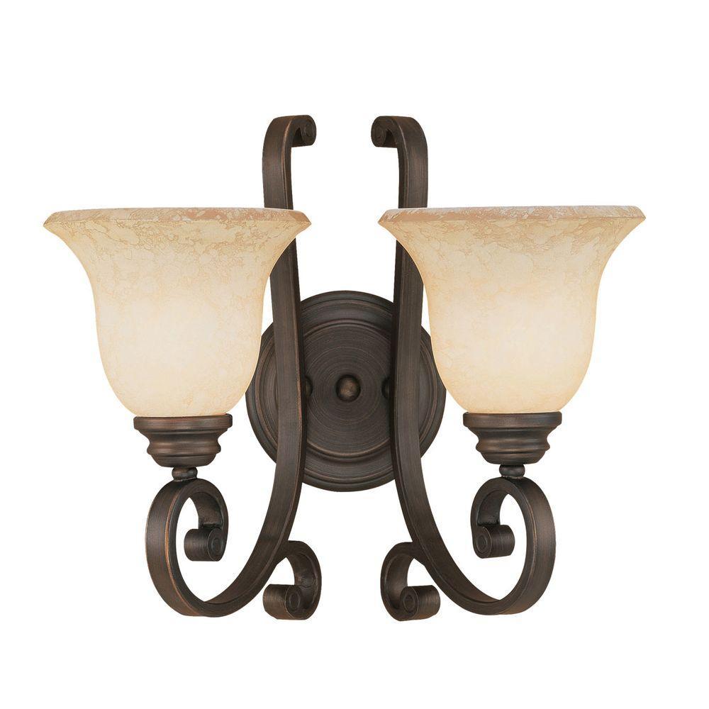 Millennium Lighting 2 Light Rubbed Bronze Sconce With Turinian Scavo Gl