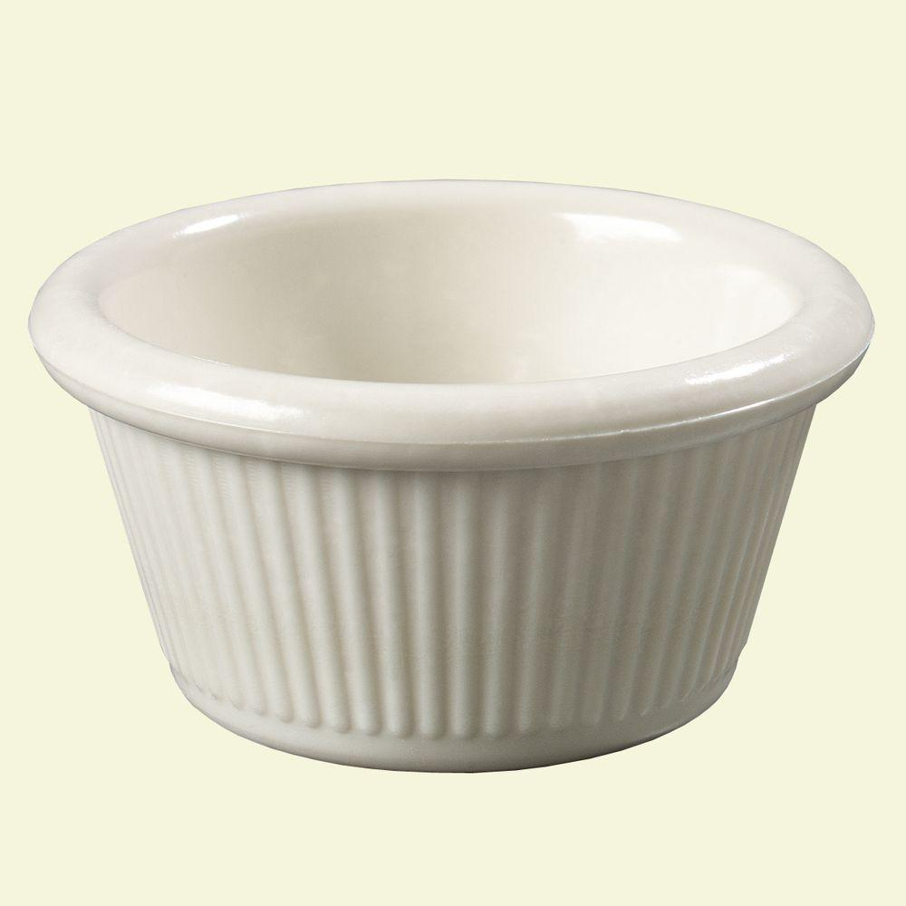 2 oz. Heavy Weight Melamine Fluted Sides Ramekin in Bone (Case