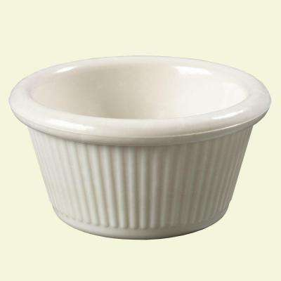 2 oz. Heavy Weight Melamine Fluted Sides Ramekin in Bone (Case of 48)