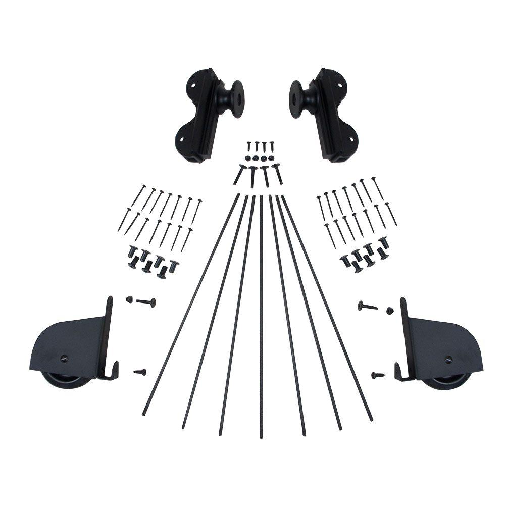 Black Contemporary Rolling Hook Hardware Kit for 20 in. W Ladders