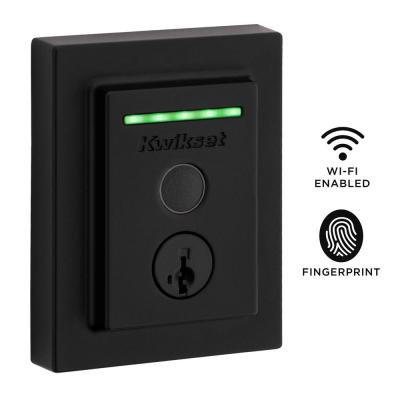 Halo Touch Matte Black Contemporary Fingerprint Wi-Fi Electronic Smart Lock Deadbolt Featuring SmartKey Security