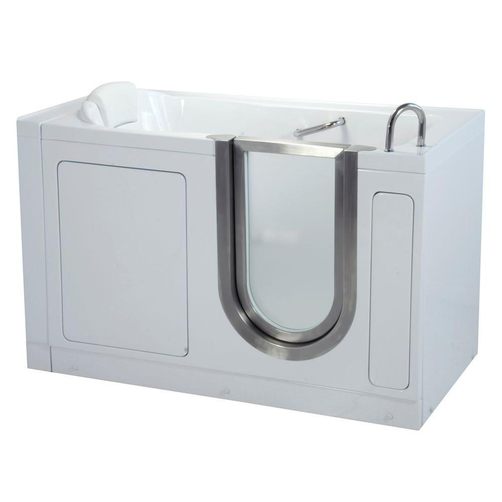 Ella Deluxe 55 in. Acrylic Walk-In Soaking Bathtub in White with Heated Seat and Right 2 in. Dual Drain