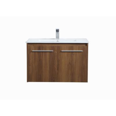 Timeless Home 30 in. W x 18.31 in. D x 19.69 in. H Single Bathroom Vanity in Walnut Brown with Porcelain and White Basin