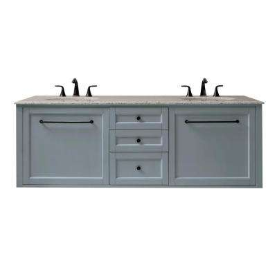 Hamilton 68 in. W Wall Hung Double Vanity in Sea Glass with Granite Vanity Top in Grey with White Sink
