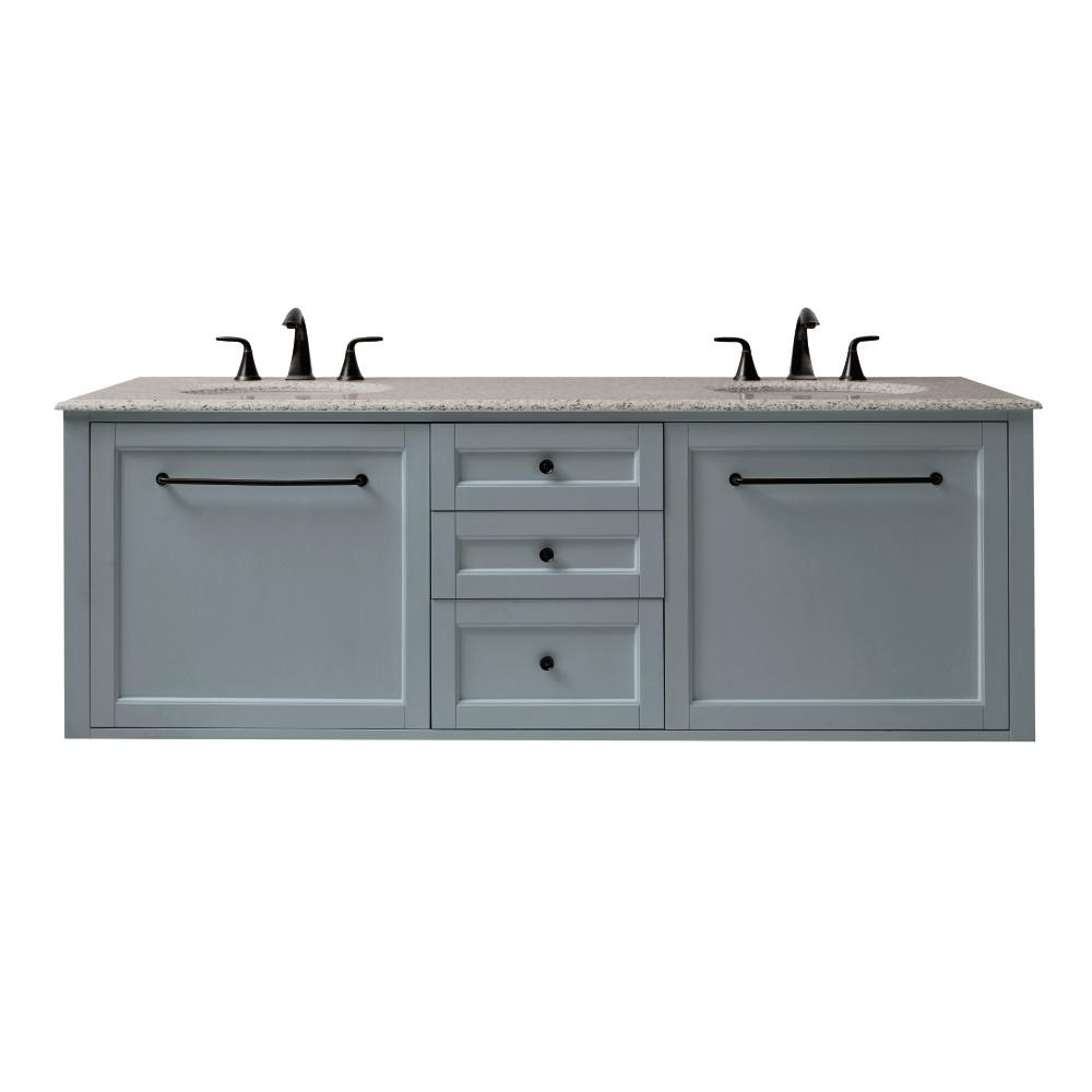 Home decorators collection hamilton 68 in w wall hung double vanity in sea glass with granite Home decorators double vanity
