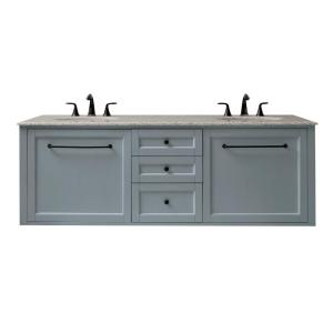 Home Decorators Collection Hamilton 68 inch W Wall Hung Double Vanity in Sea Glass with Granite Vanity Top in Grey with... by Home Decorators Collection