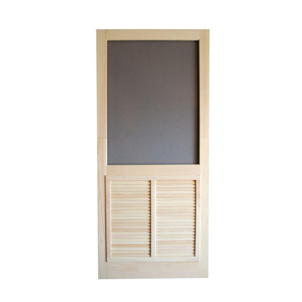 32 in. x 80 in. Ponderosa Wood Unfinished Reversible Hinged Screen Door