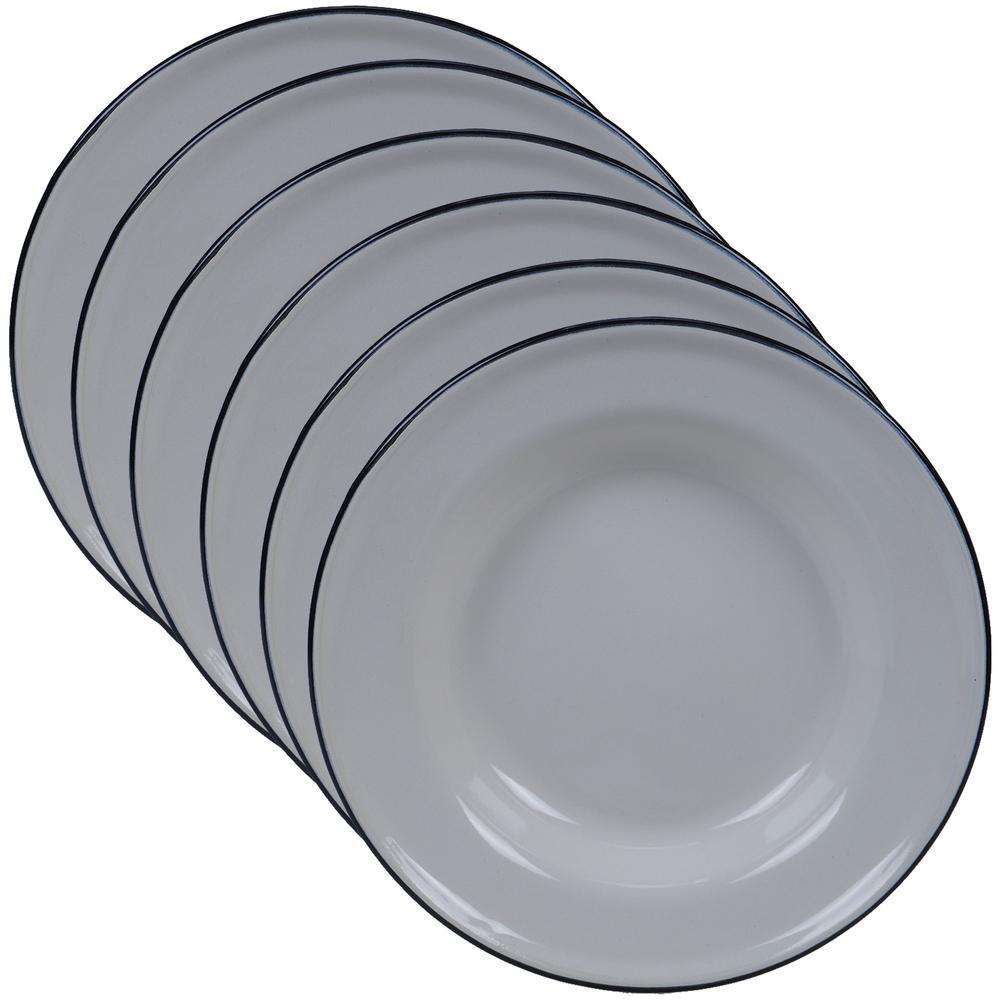 Certified International Enamelware 6-Piece Cream 8 in. Salad Plate Set 22936SET6