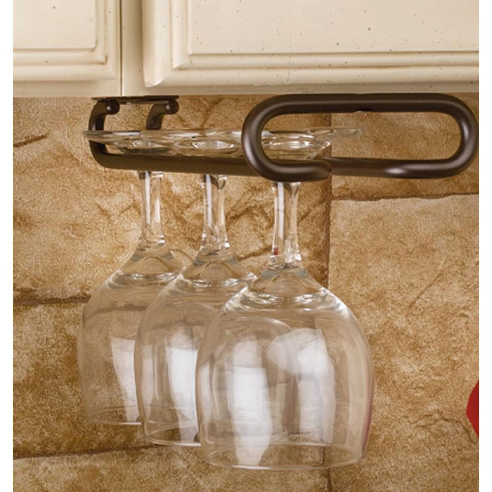 Rev-A-Shelf 1.5 in. H x 4.25 in. W x 18 in. D Oil Rubbed Bronze Under Cabinet Wine Glass Holder
